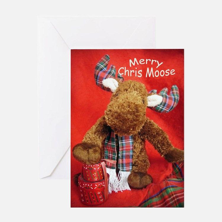 Merry Chris Moose Greeting Cards