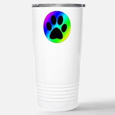 Rainbow Dog Paw Print Travel Mug