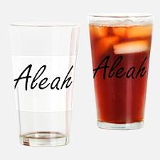 Aleah artistic Name Design Drinking Glass