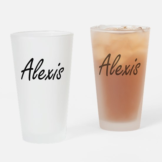 Alexis artistic Name Design Drinking Glass