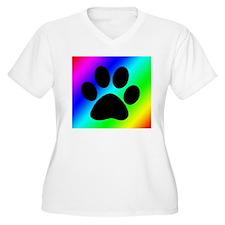 Rainbow Dog Paw Plus Size T-Shirt