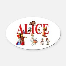 Alice and Friends in Wonderland Oval Car Magnet