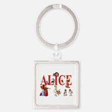 Alice and Friends in Wonderland Square Keychain