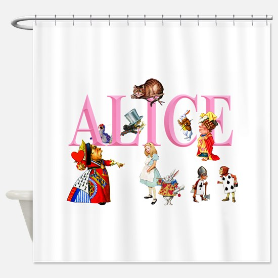 Alice and Friends in Wonderland Shower Curtain