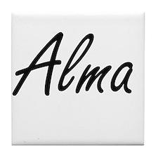 Alma artistic Name Design Tile Coaster