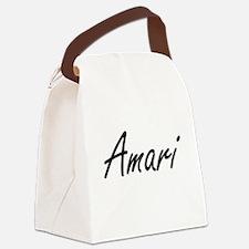 Amari artistic Name Design Canvas Lunch Bag