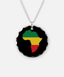 Green, Gold and Red Africa Flag Necklace