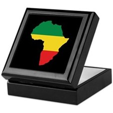 Green, Gold and Red Africa Flag Keepsake Box