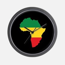 Green, Gold and Red Africa Flag Wall Clock