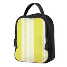 Yellow Stripes and Polka Dots Neoprene Lunch Bag