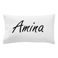 Amina artistic Name Design Pillow Case