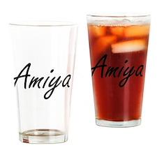 Amiya artistic Name Design Drinking Glass
