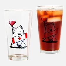 Canadian KiniArt Westie Fan Drinking Glass
