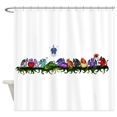 many cute dragons shower curtain by pezicreation