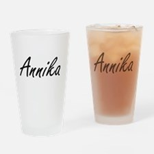 Annika artistic Name Design Drinking Glass