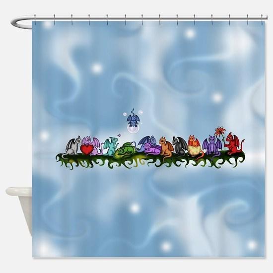 many cute Dragons Sky Shower Curtain