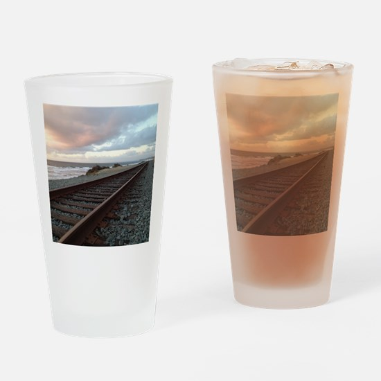 Train Track into Sunset Drinking Glass