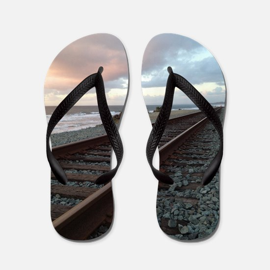 Train Track into Sunset Flip Flops
