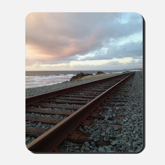 Train Track into Sunset Mousepad
