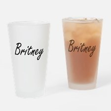 Britney artistic Name Design Drinking Glass