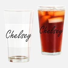 Chelsey artistic Name Design Drinking Glass