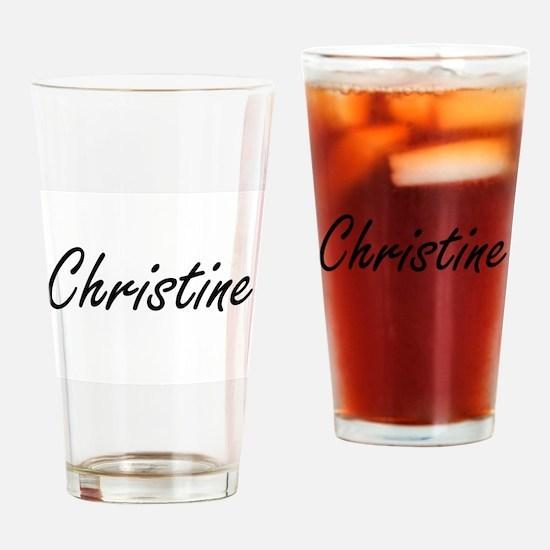 Christine artistic Name Design Drinking Glass