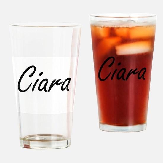 Ciara artistic Name Design Drinking Glass