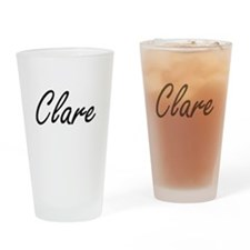 Clare artistic Name Design Drinking Glass