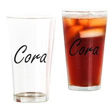 Cora artistic Name Design Drinking Glass