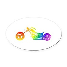 Rainbow Motorcycle Oval Car Magnet