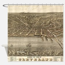 Vintage Pictorial Map of Cleveland Shower Curtain