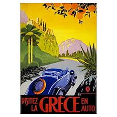 Greece Vintage Travel Poster Restored Poster