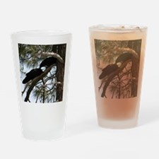 Crows in Love Drinking Glass