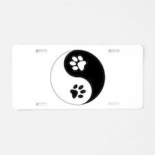 Yin Yang Paws Aluminum License Plate