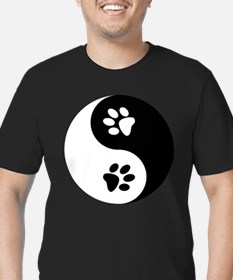 Yin Yang Paws Men's Fitted T-Shirt (dark)