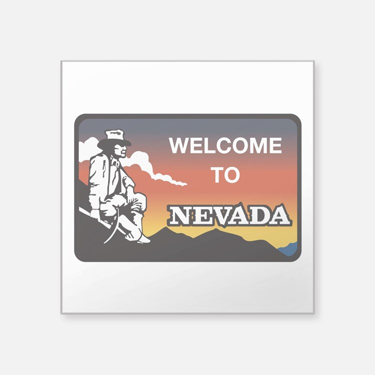 "Welcome to Nevada - USA Square Sticker 3"" x 3"""
