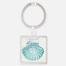 modern sea shells nautical  Square Keychain