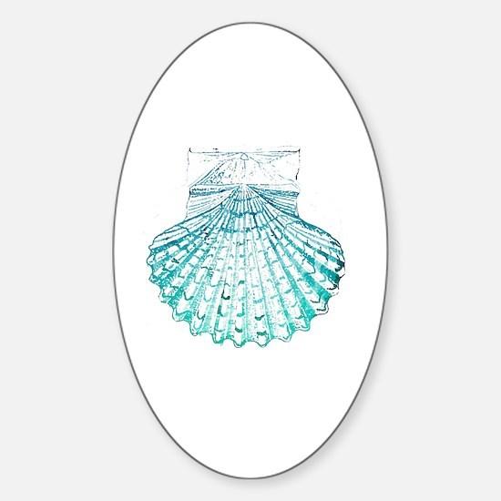modern sea shells nautical  Sticker (Oval)