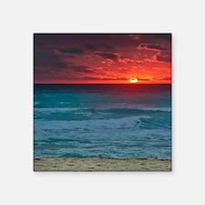 "Sunset Beach Square Sticker 3"" x 3"""