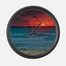 Sunset Beach Large Wall Clock