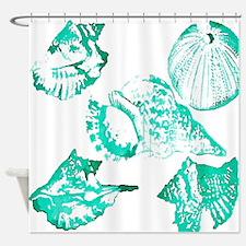 teal sea shells nautical Shower Curtain