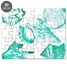teal sea shells nautical Puzzle