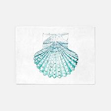 beach turquoise sea shells 5'x7'Area Rug