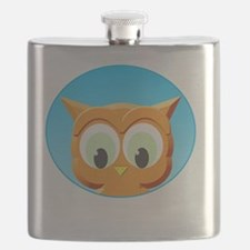 Face Of A Little Owl Flask