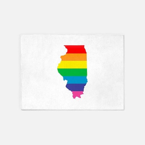illinois rainbow 5'x7'Area Rug