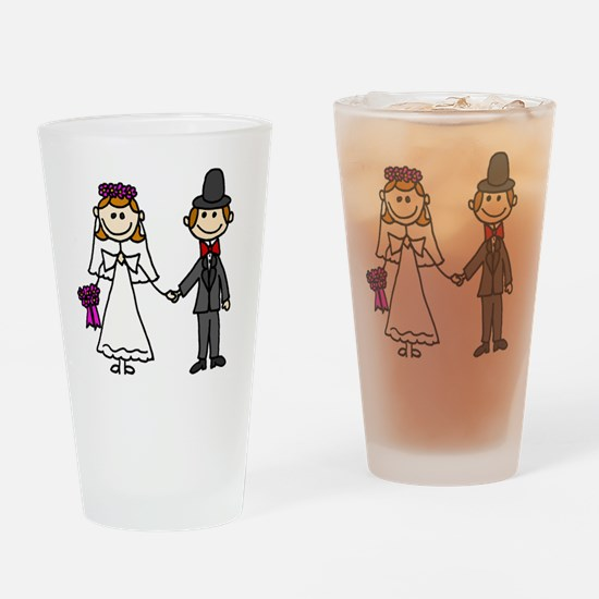Bride and Groom Stick Figures Drinking Glass