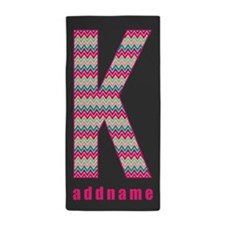 Chevron Pattern Monogram Letter K Beach Towel