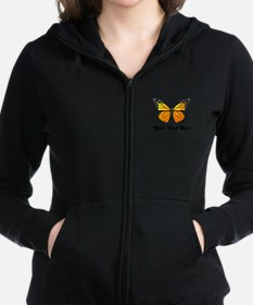 Orange Butterfly Custom Text Women's Zip Hoodie