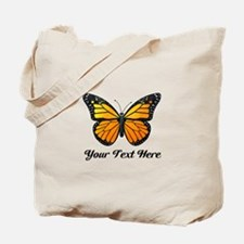 Orange Butterfly Custom Text Tote Bag