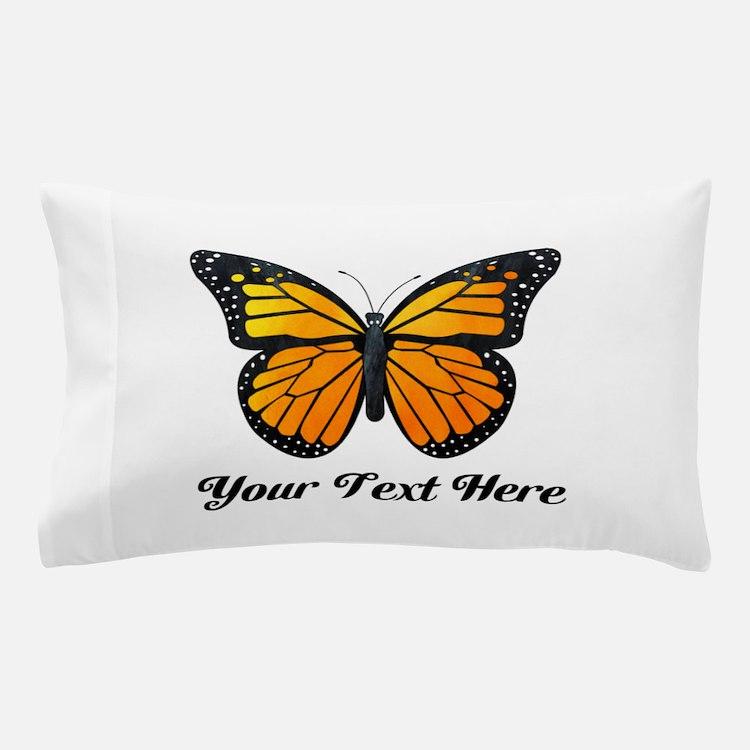 Orange Butterfly Custom Text Pillow Case